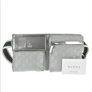 Authentic GUCCI silver waist bag crossbody